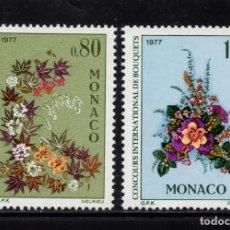 Sellos: MONACO 1076/77** - AÑO 1976 - FLORA - FLORES - CONCURSO INTERNACIONAL DE RAMOS. Lote 228368690