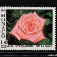 Sellos: MONACO 1297** - AÑO 1981 - FLORA - FLORES - ROSAS. Lote 228368765