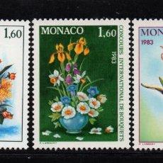 Sellos: MONACO 1349/51** - AÑO 1982 - FLORA - FLORES - CONCURSO INTERNACIONAL DE RAMOS. Lote 228368810