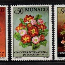 Sellos: MONACO 897/99** - AÑO 1972 - FLORA - FLORES - CONCURSO INTERNACIONAL DE RAMOS. Lote 228368835