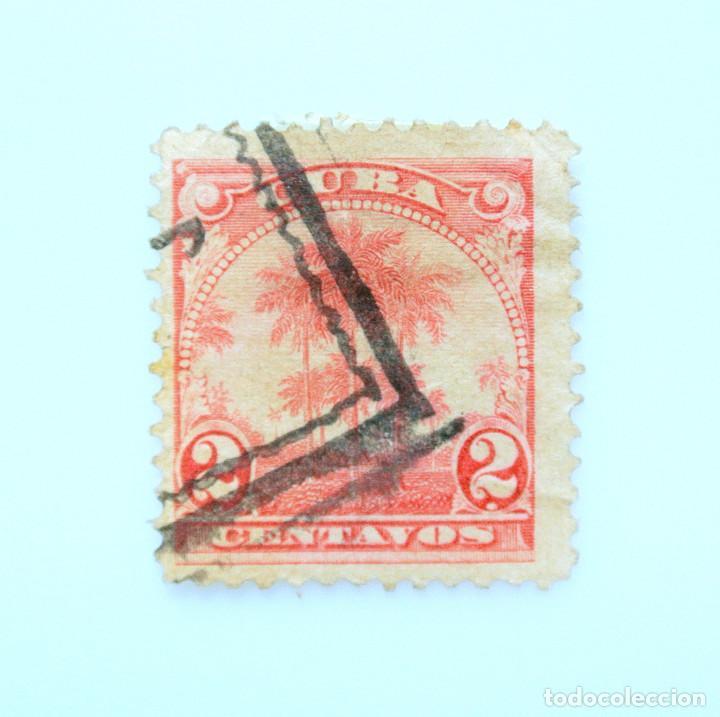 SELLO POSTAL CUBA 1905, 2 ¢, PALMAS DE COCO, USADO (Sellos - Temáticas - Flora)