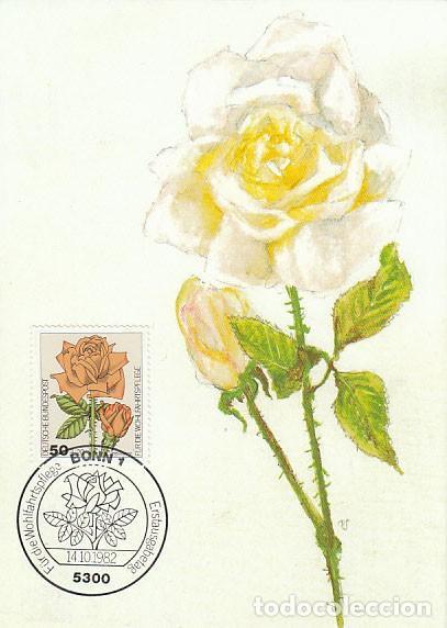 ALEMANIA IVERT 982, ROSA DEL TÉ, TARJETA MÁXIMA DE 14-10-1982 (Sellos - Temáticas - Flora)