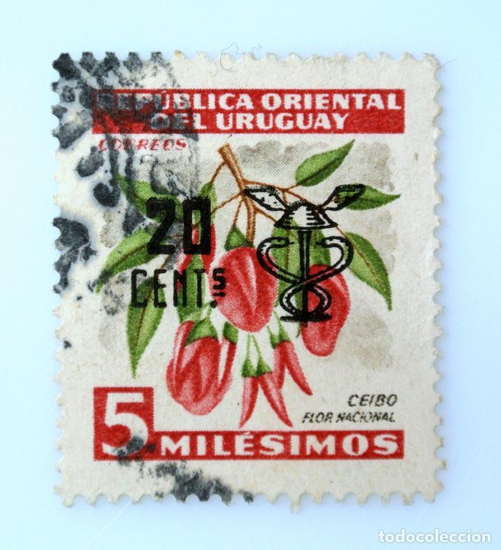 SELLO POSTAL URUGUAY 1959, 20 C, CEIBO FLOR NACIONAL, OVERPRINTED SOBRECARGADO,USADO (Sellos - Temáticas - Flora)
