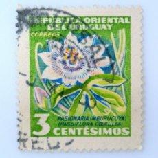 Sellos: SELLO POSTAL URUGUAY 1954, 3 C, FLOR PASIONARIA, PASIFLORA, USADO. Lote 231819220