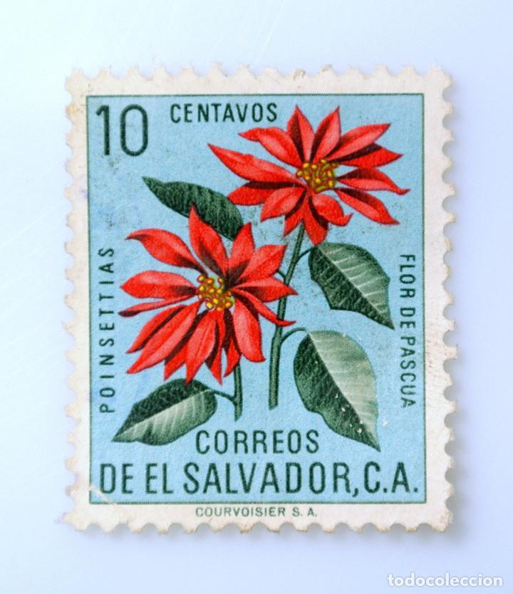 SELLO POSTAL EL SALVADOR 1960, 10 C, POINSETTIAS, FLOR DE PASCUA, USADO (Sellos - Temáticas - Flora)