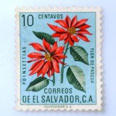 Sellos: SELLO POSTAL EL SALVADOR 1960, 10 C, POINSETTIAS, FLOR DE PASCUA, USADO. Lote 233451000