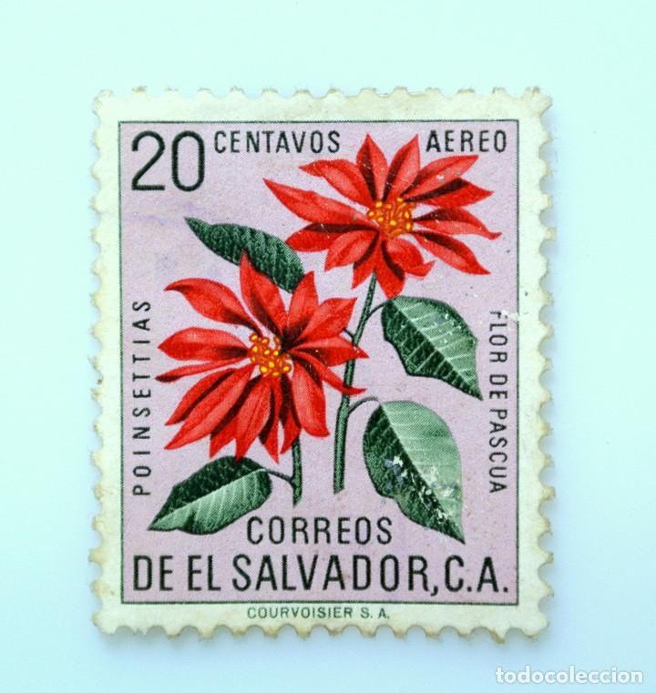 SELLO POSTAL EL SALVADOR 1960, 20 C, POINSETTIAS, FLOR DE PASCUA, USADO (Sellos - Temáticas - Flora)