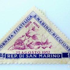 Sellos: SELLO POSTAL SAN MARINO 1952 , 1 ₤, CICLAMEN, DIA DE LA FILATELIA S. MARINO RICCIONE 1952, SIN USAR. Lote 233921725