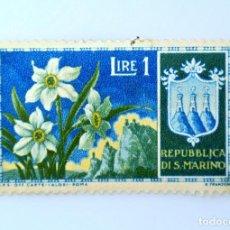 Sellos: SELLO POSTAL SAN MARINO 1953 , 1 ₤, NARCISOS, FLORES 1953, SIN USAR. Lote 233924650