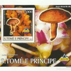 Sellos: S. TOME Y PRINCIPE 2003 HOJA BLOQUE SELLOS FLORA HONGOS- CHAMPIGNONES- MUSHROOMS- SETAS. Lote 235370370