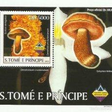 Sellos: S. TOME Y PRINCIPE 2003 HOJA BLOQUE SELLOS FLORA HONGOS- CHAMPIGNONES- MUSHROOMS- SETAS. Lote 235370880