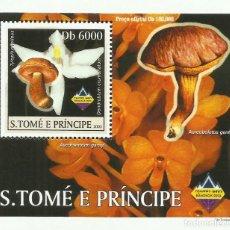 Sellos: S. TOME Y PRINCIPE 2003 HOJA BLOQUE SELLOS FLORA HONGOS- CHAMPIGNONES- MUSHROOMS- SETAS. Lote 235371115