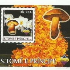 Sellos: S. TOME Y PRINCIPE 2003 HOJA BLOQUE SELLOS FLORA HONGOS- CHAMPIGNONES- MUSHROOMS- SETAS. Lote 235371340
