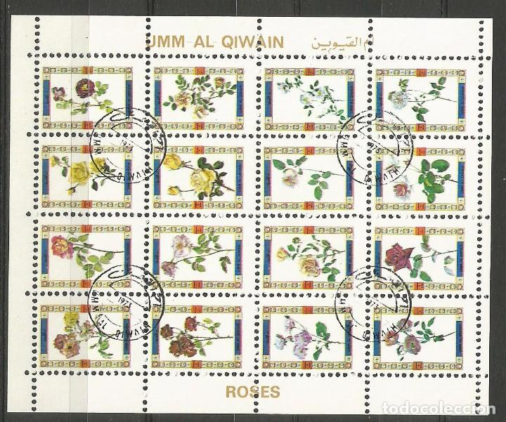 UMM AL QIWAIN - BLOQUE DE 16 SELLOS DE ROSAS 1973 - SELLADO (Sellos - Temáticas - Flora)