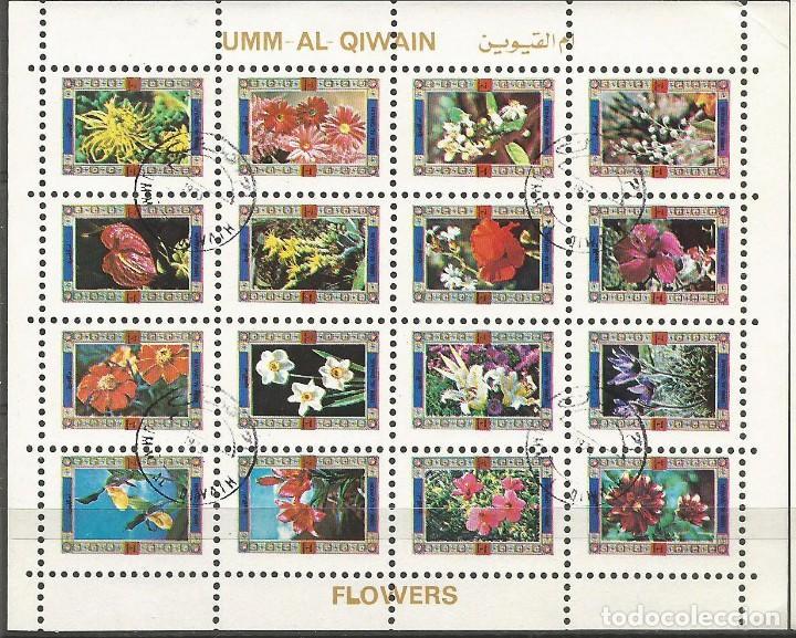 UMM AL QIWAIN - BLOQUE DE 16 SELLOS DE FLORES DIFERENTES - 1973 - SELLADO (Sellos - Temáticas - Flora)