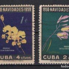 Sellos: 614-2 CUBA 1958 U CHRISTMAS - ORCHIDS. Lote 236771515