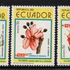 Sellos: ECUADOR 1101/03** - AÑO 1986 - FLORA - FLORES. Lote 243410410