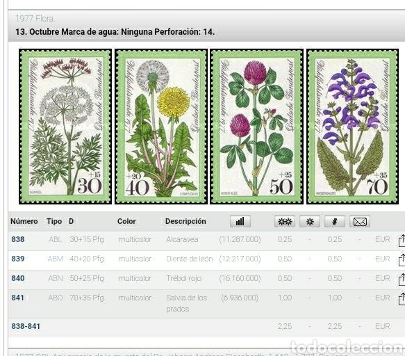 Sellos: Sello Alemania R. Federal nuevo/1977/flores/flora/naturaleza/plantas/diente/leon/trébol/rojo/salvia/ - Foto 2 - 246168075