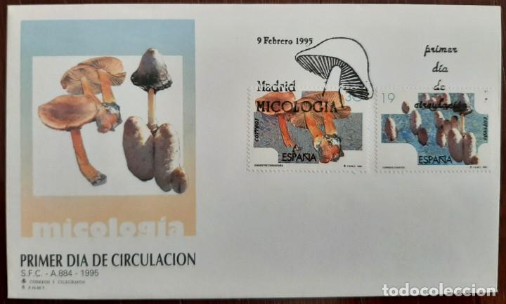 MATASELLOS PRIMER DÍA. ESPAÑA 1995. MICOLOGÍA. SETAS (Sellos - Temáticas - Flora)