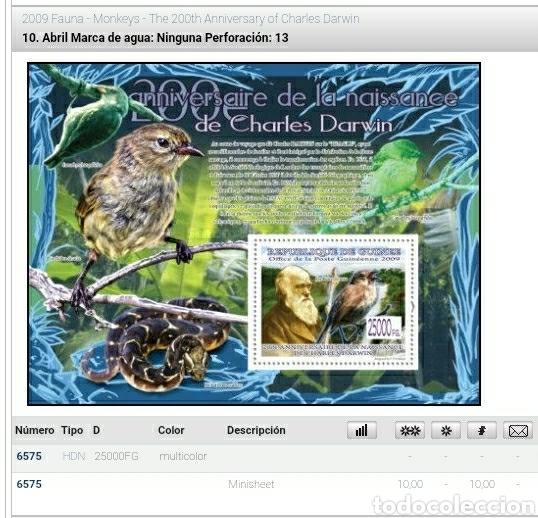 Sellos: HB R. Guinea mtdos/2009/200Aniv/nacimiento/Charles/Darwin/aves/fauna/pajaros/serpiente/reptil/natura - Foto 2 - 253544695