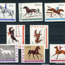 Sellos: POLONIA 1967 IVERT 1590/97 ***150º ANIVERSARIO DE LAS HORAS DE JANOW PODLASKI - CABALLOS - DEPORTES. Lote 253637045