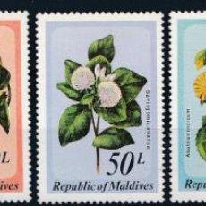 Sellos: MALDIVAS 1979 IVERT 776/80 *** FLORA - FLORES SALVAJES DE LAS ISLAS. Lote 254198975
