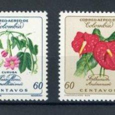 Sellos: COLOMBIA 1960 AEREO IVERT 352/4 *** FLORA - FLORES DIVERSAS. Lote 254381905