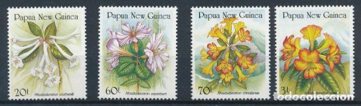 PAPUA Y NUEVA GUINEA 1989 IVERT 579/82 *** FLORA - FLORES - RODODENDROS (Sellos - Temáticas - Flora)