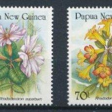 Sellos: PAPUA Y NUEVA GUINEA 1989 IVERT 579/82 *** FLORA - FLORES - RODODENDROS. Lote 255997220