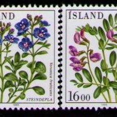 Sellos: ISLANDIA 1985 - FLORES - YVERT 581/84**. Lote 261830315