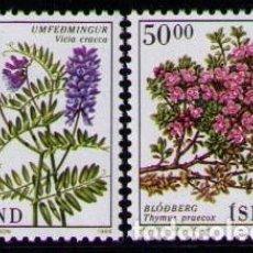 Sellos: ISLANDIA 1988 - FLORES - YVERT 642-643**. Lote 261830640
