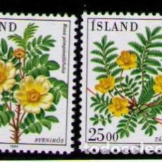 Sellos: ISLANDIA 1984 - FLORES - YVERT 565-566**. Lote 261835775