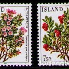 Sellos: ISLANDIA 1984 - FLORES - YVERT 572-573**. Lote 261835925