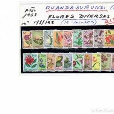 Sellos: SERIE DE 19 SELLOS DE RUANDA-BURUNDI CON FLORES AÑO 1953. Lote 261907425