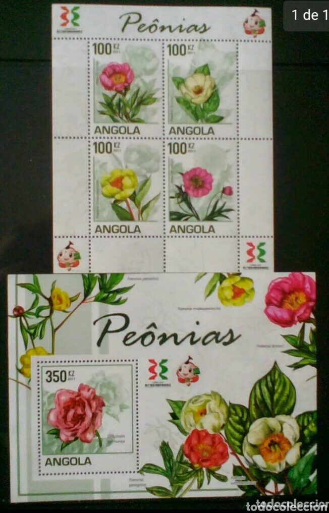 ANGOLA FLORES 2 HOJAS BLOQUE DE SELLOS NUEVOS (Sellos - Temáticas - Flora)
