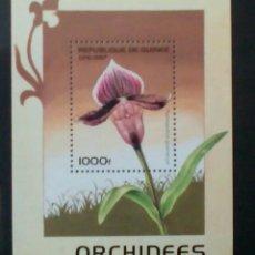 Sellos: ORQUIDEAS HOJA BLOQUE DE SELLOS NUEVOS DE GUINEA. Lote 262029635