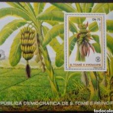 Sellos: ST. TOME Y PRÍNCIPE BANANAS HOJA BLOQUE DE SELLOS NUEVOS. Lote 262030065