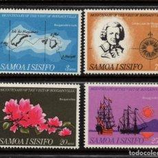 Sellos: SAMOA 228/31** - AÑO 1968 - FLORA FLORES - FLORES - BICENT. DE LA VISITA DE BOUNGAINVILLE. Lote 267642209