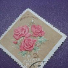 Sellos: SELLO HUNGRÍA (MAGYAR P) MTDOS/1963/FESTIVAL/INTERNACIONAL/ROSA/FLORES/FLORA/NATURALEZA/PLANTAS. Lote 268133514