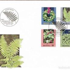 Sellos: SUIZA IVERT N 1440/2,PLANTAS DEL BOSQUE, SOBRE PRIMER DIA DE 23-11-1993. Lote 268406934