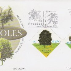 Sellos: EDIFIL Nº 3803, ARBOLES, EL OLIVO, PRIMER DIA DE 22-6-2001. Lote 277045238