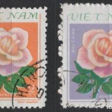 Sellos: VIETNAM 1980 FLORES ROSAS 2 SELLOS USADOS * LEER DESCRIPCION. Lote 278269813