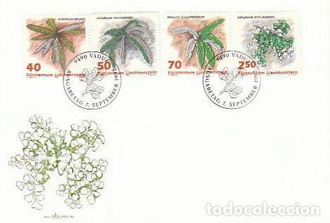 LIECHTENSTEIN IVERT 986/989, HELECHOS, PRIMER DIA DE 7-9-1992 (Sellos - Temáticas - Flora)