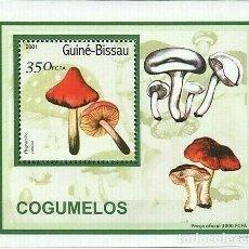 Sellos: GUINEA 2001 HOJA BLOQUE SELLOS FLORA HONGOS - CHAMPIGNONES - MUSHROOMS - SETAS. Lote 287257338