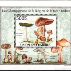 Sellos: UNION DE COMORES 2010 HOJA BLOQUE SELLOS FLORA HONGOS- CHAMPIGNONES- MUSHROOMS- SETAS. Lote 287258433