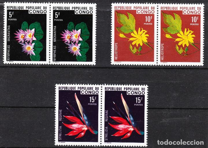 CONGO 428/30** - AÑO 1976 - FLORA - FLORES POR PAREJAS ** (Sellos - Temáticas - Flora)