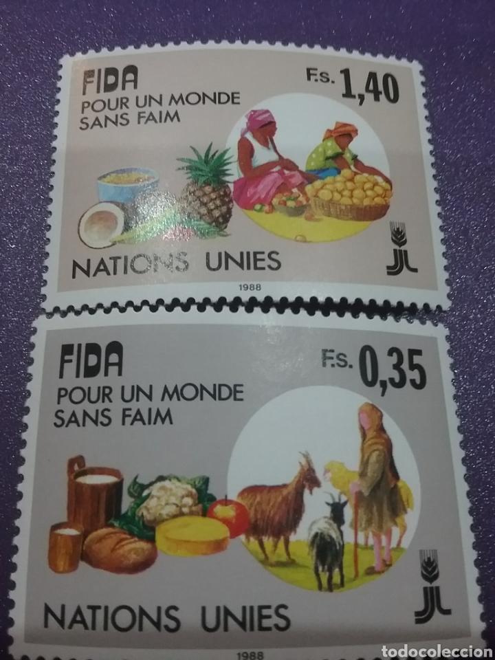 SELLO NACIONES UNIDAS (GINEBRA) NUEVO/1988/DESARROLLO/AGRICULTURA/FRUTA/FLORES/FLORA/TRABAJOS/ANIMAL (Sellos - Temáticas - Flora)