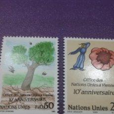 Sellos: SELLO NACIONES UNIDAS (GINEBRA) NUEVO/1989/10ANIV/CENTRO/INTER/ONU/ARBOL/FLORAS/FLORA/NATURALEZA/AVE. Lote 288716773