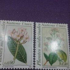 Sellos: SELLO NACIONES UNIDAS (GINEBRA) NUEVO/1990/PLANTAS/MEDICINA/FLORA/NATURALEZA/PLUMERIA/CINCHONA/FLORE. Lote 288721663