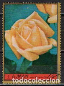 AJMAN (EMIRATOS ARABES UNIDOS), 2393, ROSA AMARILLA, USADO (Sellos - Temáticas - Flora)